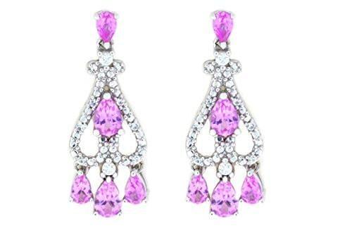 4 Carat Pink Sapphire & White Sapphire Pear Drop Dangle Stud Earrings .925 St...