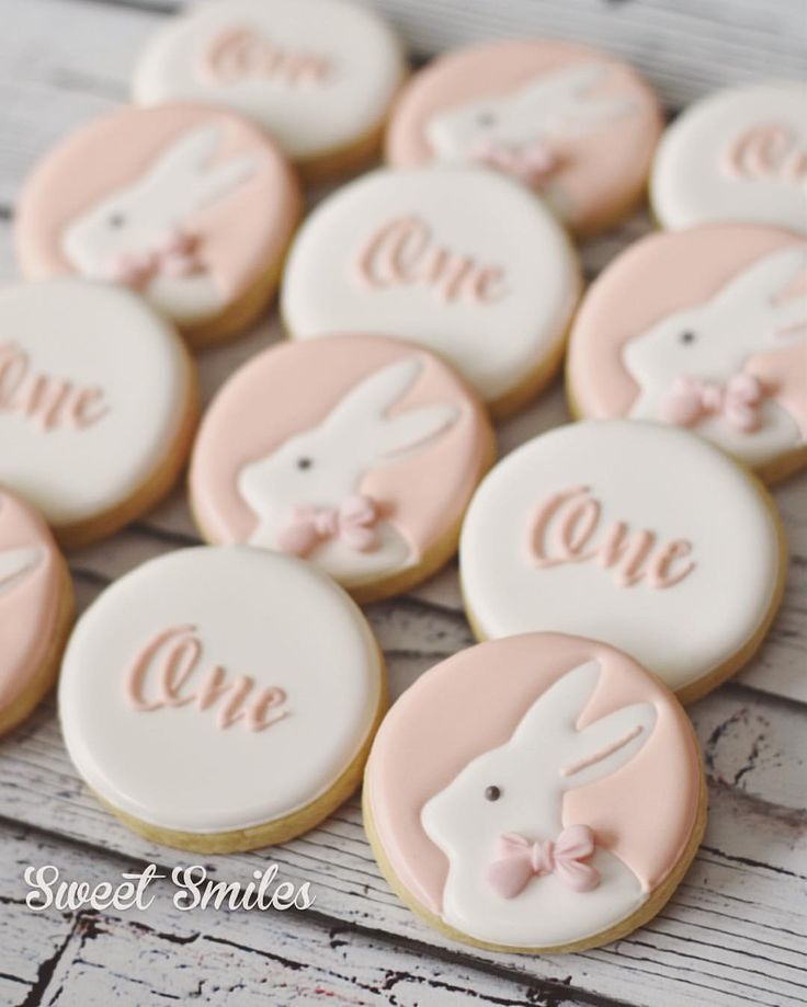 Bunny first birthday cookies