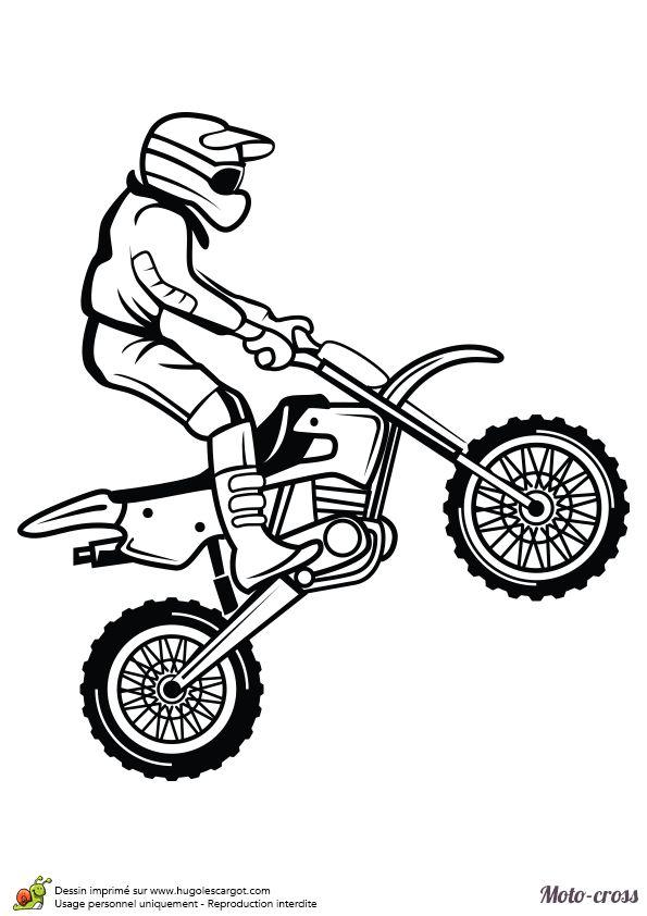 Coloriage d'un homme faisant un petit saut avec son Moto-cross