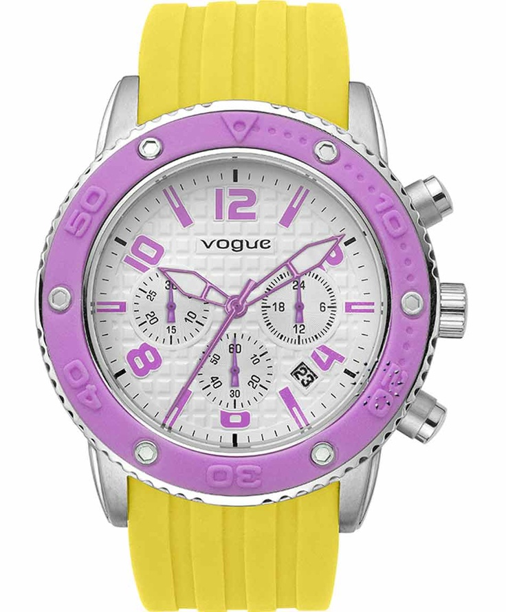 VOGUE Chronograph Yellow Rubber Strap  165€  Αγοράστε το εδώ: http://www.oroloi.gr/product_info.php?products_id=31636