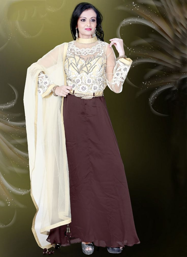 Buy Girlish Faux Crepe Brown Readymade Gown