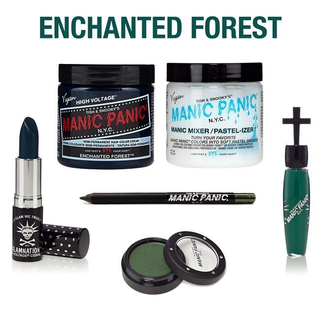 """In honor of Earth Day, we will be giving away 4 different sets of hair colors and cosmetics! Each set is inspired by our love of nature and the Earth, with this one being """"Enchanted Forest"""", as a tribute to the trees and plants that provide the invaluable oxygen we breathe every day. This set includes: 1 Enchanted Forest Classic Color, 1 Pastelizer, 1 Lethal Lipstick in Enchanted Forest, 1 Cross Gloss in Poison Ivy, 1 Glitter Pencil Eye Liner in Serpentine, 1 Blush/Eye Shadow in Reptile…"""