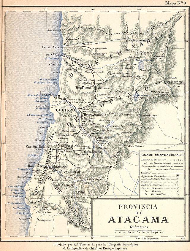 From Wikiwand: Antiguo mapa de la Provincia de Atacama (creada en 1843) y sus cuatro departamentos: Caldera, Copiapó, Freirina y Vallenar.