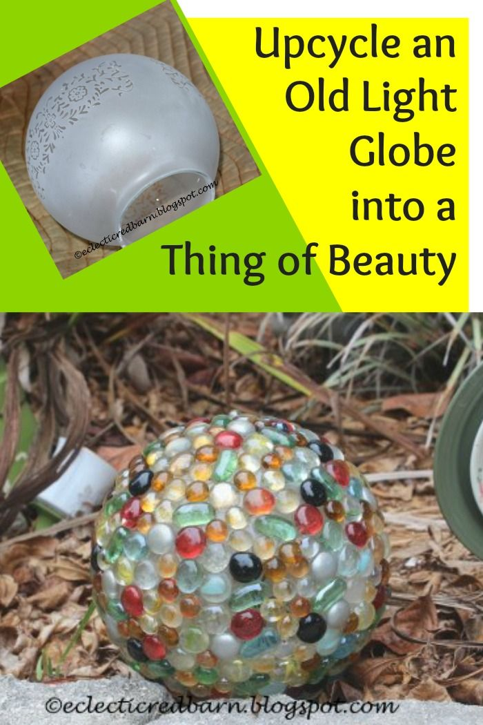 I've seen these light globes at the thrift store for about a dollar each and this is such a pretty way to upcycle them into a garden decoration.