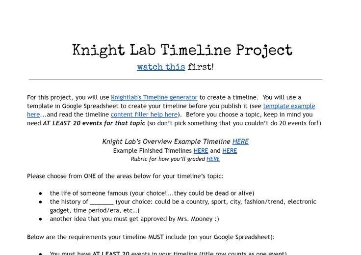 Pin van Amy Erbs op final project prep Pinterest - Tijdlijn - timeline spreadsheet template