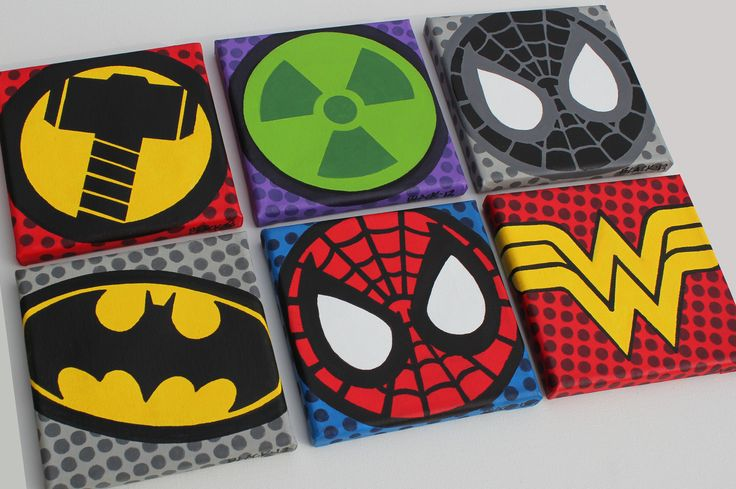 """SUPER HERO SYMBOLS    ACRYLIC ON CANVAS    Six Mini 6"""" X 6"""" Canvas Paintings    Thor, Hulk, Black Spidey (movie version) Batman, Spidey and Wonder Woman    I know, this grouping doesn't make sense. It was a request."""