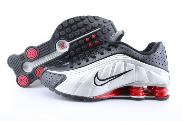 Mens Nike Shox R4 White Black Red Column Shoes www.likeshoxshoes.com