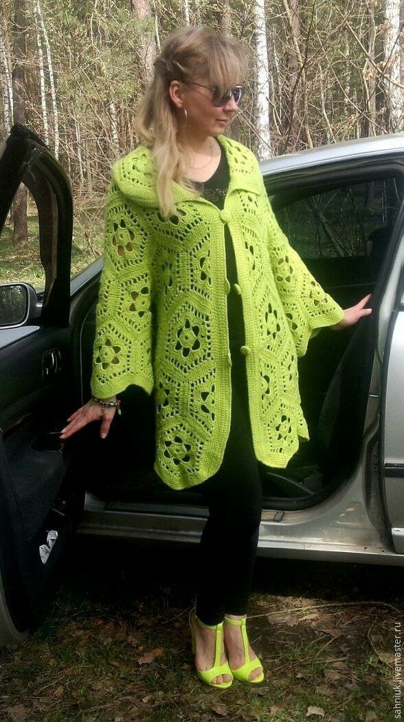 Купить Кардиган крючком мотивами Ярко-зеленый - ярко-зелёный, кардиган, кардиган крючком, жакет,cardigan,knitting,crochet,knitwear,boho,style,вязание на заказ,