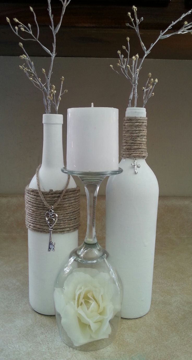 Chic Wedding Centerpiece / Up-cycled / Bridal Shower Centerpiece 2 / Home Decor / Religious - $40