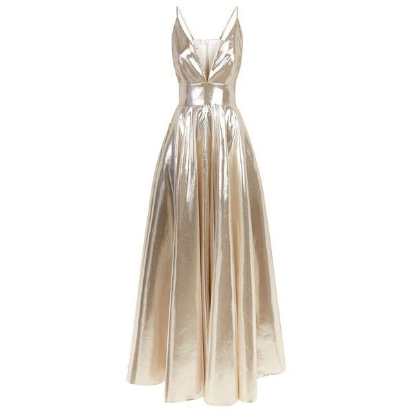 La Mania Nealy Lamé Gown found on Polyvore featuring dresses, gowns, vestido, long dress, brown gown, deep v neck dress, tie dress, spaghetti strap gown and brown dress