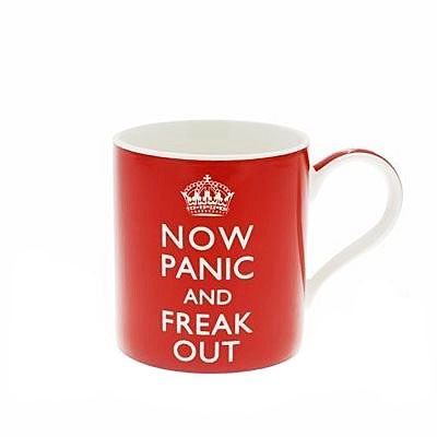 "A dishwasher safe mug with a large handle with the saying ""NOW PANIC AND FREAK OUT"" in white on a red background. Microwave safe Made from fine china The origin of the saying: During WWII, the British government produced a series of posters whose intent was to convey a reassuring message from the King to […]"
