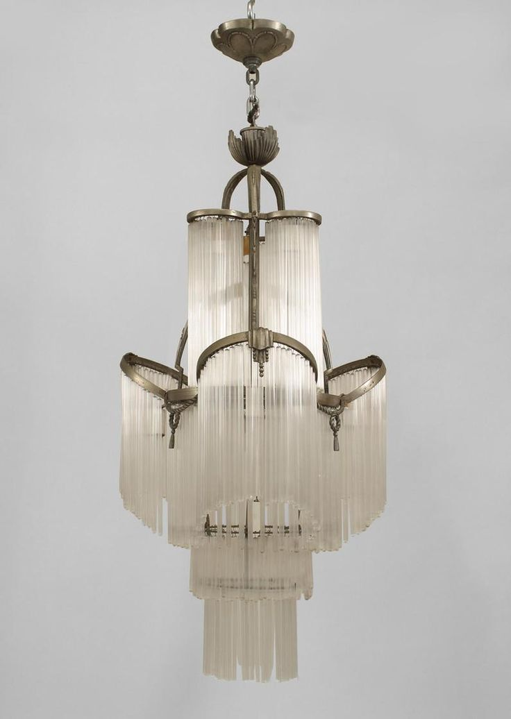 French Art Deco Nickel Plated Chandelier With Rope And Tassel Trim Tiered Tubular Glass Drops
