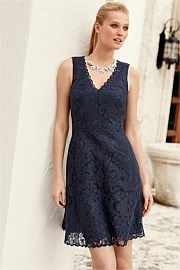 Premium Corded Lace Dress - Next @Ezibuy. Gorgeous navy  V neck dress! #fashionblogger #youngandpolished #lace #workready