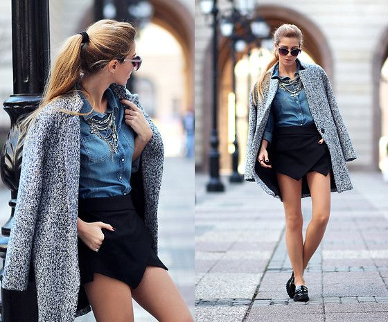 Sheinside Tweed Coat, Sheinside Denim Shirt, Sheinside Skort, Zara Loafers