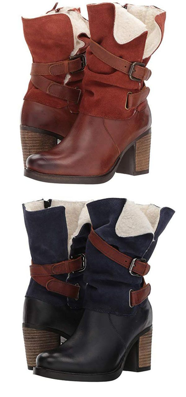 63% OFF>>Women Vintage Chunky Heel Mid-Calf Boot