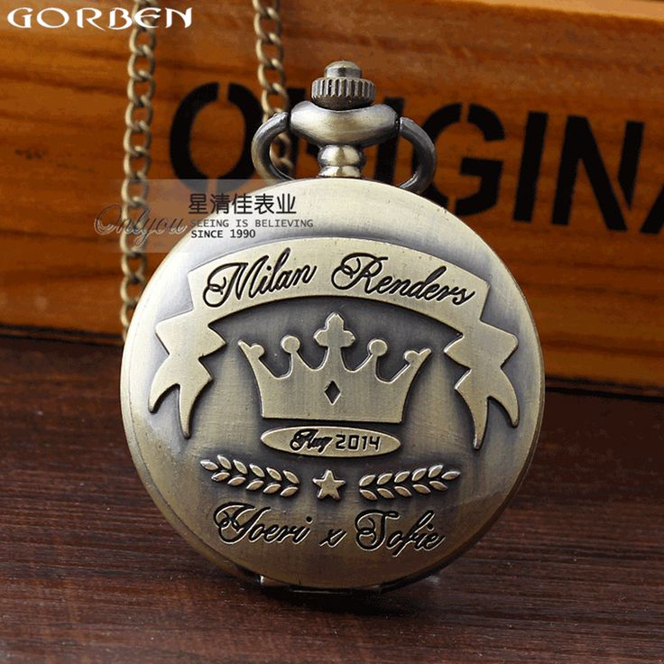 Bronze quartz pocket watches casual style pocket watch antique women's watches with long chain necklace best exquisite gifts