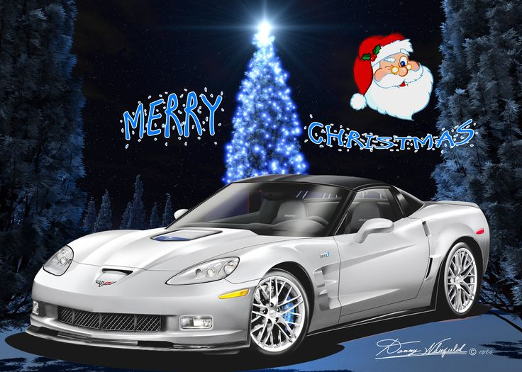Chevy Corvette say's Merry Christmas from the Automotive Art of Danny Whitfield!