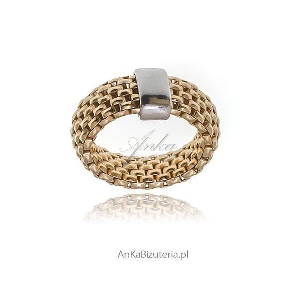 pierścionek srebrny pozłacany dla kobiet