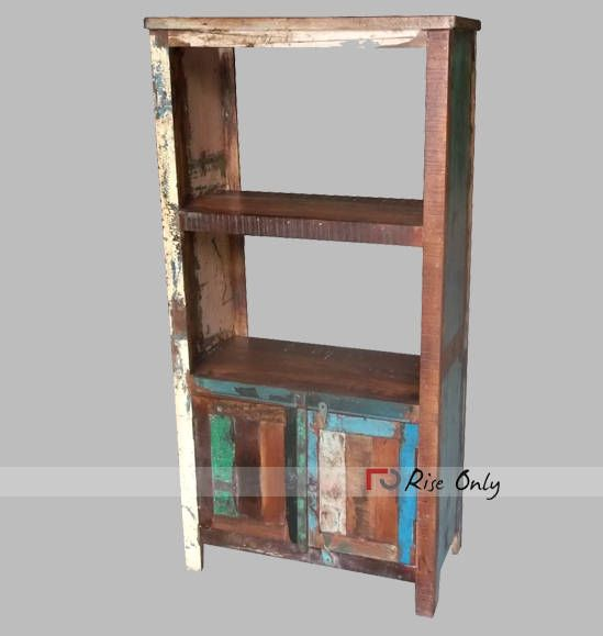 Wholesale Reclaimed Library Open Bookcases Made From Riseonly.com India  #reclaimedbookshelf #recycledfurniture #