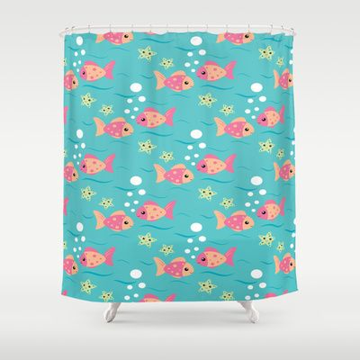 Tropical Pink Fish Shower Curtain