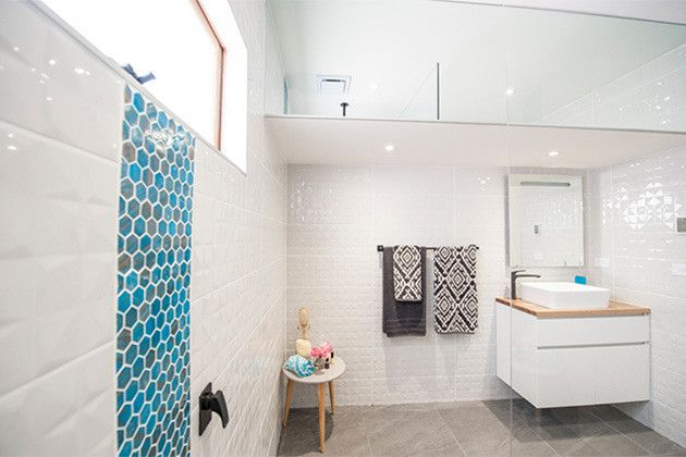 House Rules - VIC Reveal  Bathroom Rifco Matisse vanity with Timber top
