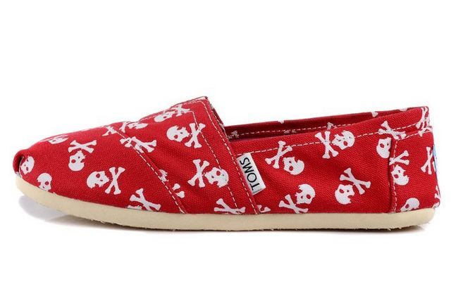 New Arrival Toms women shoes Red Skull