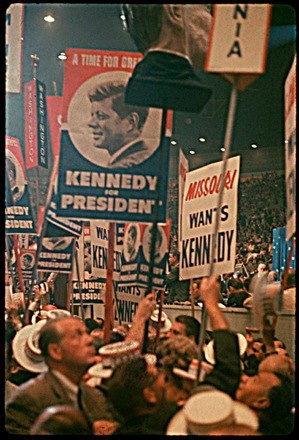 John F. Kennedy supporters at the 1960 Democratic National Convention at the Los Angeles Sports Arena...