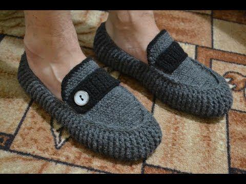 """Мужские мокасины"" на войлочной подошве (Men's moccasins on felt soles)...video on slippers.(russian)"