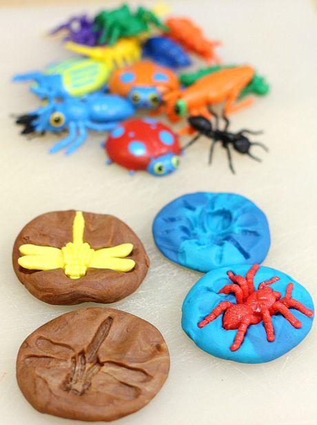 playdough bug fossils - 75+ ways to play with playdough
