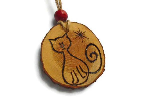 Cat Decoration  Wooden Cat Ornament  Fat Cat  Eco Friendly