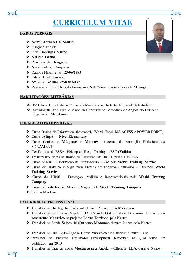 exemplos de curriculum vitae angolano