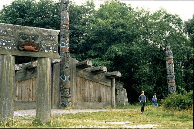 1962 reconstruction of a 19th century Haida Village with totem poles by Bill Reid. Queen Charlotte Island, Canada