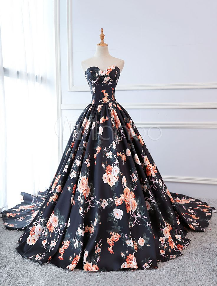 Quinceanera Dresses Floral Print Dark Navy Satin Strapless Sweetheart Women Pageant Dress Chapel Train