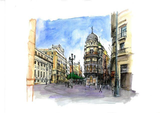 Avenida de la Constitución, Sevilla. Acuarela y Tinta. 407x297mm. Papel canson 300gr