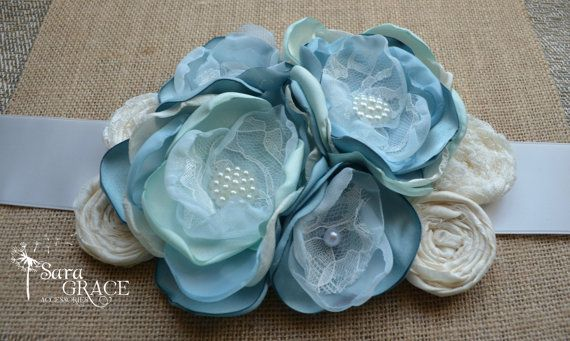 Couture Island Blue Maternity Sash dolphin by SaraGraceAccessories