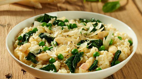 Risotto met witte asperges en spinazie