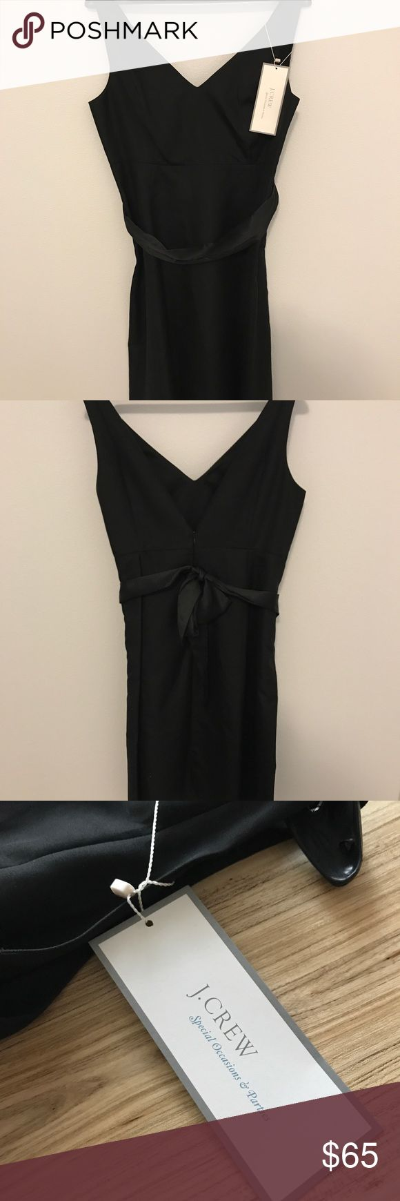 """J. Crew NWT Little Black Cocktail Dress Stunningly beautiful in its simplicity, this little black dress is just what you need for that holiday cocktail party! Brand new with the tags still on, this J.Crew special occasion dress is 100% cotton cady in the """"Lyndsey"""" style. It features """"V""""s in both front and back, and may be worn with or without the black silk sash which attaches via a single discrete loop  at the back waist. Fully lined, size petite 12. Consult online J. Crew size guide for…"""