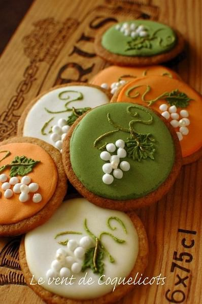 Sugar Cookies Decorated with Royal Icing of Grapes on a Vine..