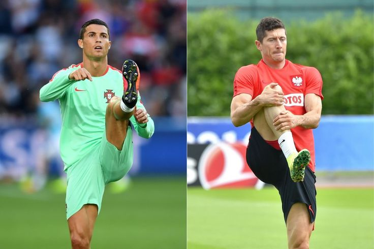 (COMBO) This combination of pictures created on June 26, 2016 shows Portugal's Captain and forward Cristiano Ronaldo warming up before the round of sixteen football match Croatia against Portugal of the Euro 2016 football tournament, on June 25, 2016 at the Bollaert-Delelis stadium in Lens, and Poland's captain and forward Robert Lewandowski taking part in a training session in La Baule, on June 23, 2016, during the Euro 2016 football tournament. Poland will face Portugal in their Euro 2016…