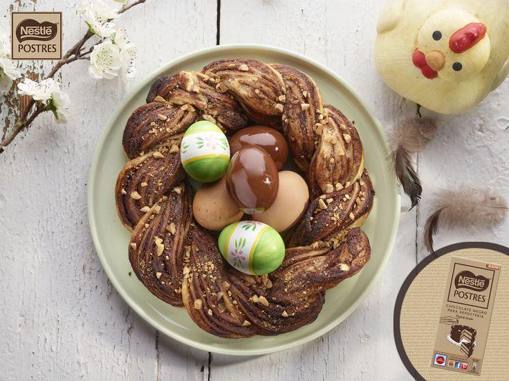 Nido de pascua con chocolate y hojaldre