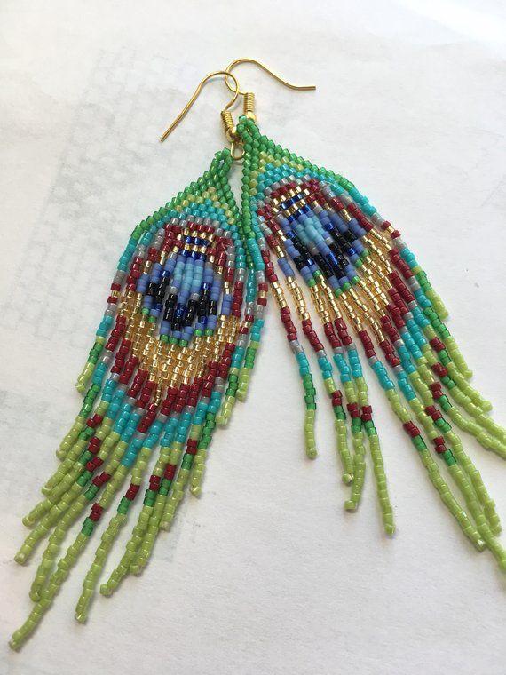 Emerald Green Peacock Earrings Avant Garde Bird Earrings Bohemian Earrings Modern Fashion Hippie Long Dangle Beaded Earrings Statement