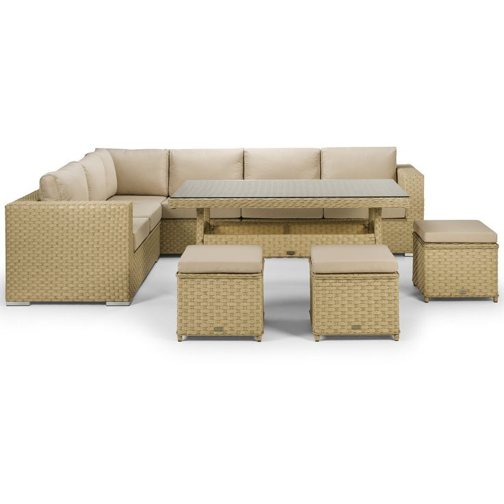 Azure Natural Corner Sofa with 3 Stools and a Dining Table - This gorgeous corner sofa set with dining table is in the brand new Natural Wicker Style 20mm wide premium rattan. A stunning twin-round rattan weave on the top of the arm gives a great looking contrast and is complimented with brushed aluminium styled feet.