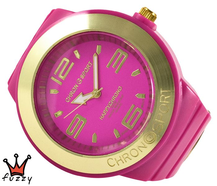 Γυναικείο νεανικό σπορ ρολόι, με κάσα σε φούξια και χρυσό χρώμα και μεγάλα νούμερα στο εσωτερικό του.  Πλαστικό λουράκι σε φούξια χρώμα. Διάμετρος καντράν 52 mm