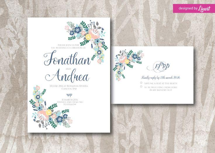 Floral wedding invitation-Digital wedding invitation-Printable wedding invitation set-Custom wedding invitation-floral bouquet by Linvit on Etsy