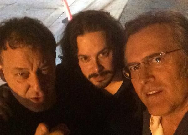 Edgar Wright just posted this photo of him with Sam Raimi and Bruce Campbell after they just had dinner! Could this be something in the making?? Hmmm....