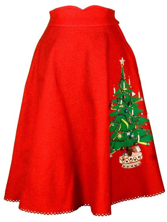 1950s Small XS Circle Skirt Poodle Christmas Tree A Line Holiday Red Wool Retro Rockabilly Pin Up Sandra Dee Grease Costume Mrs Claus Santa