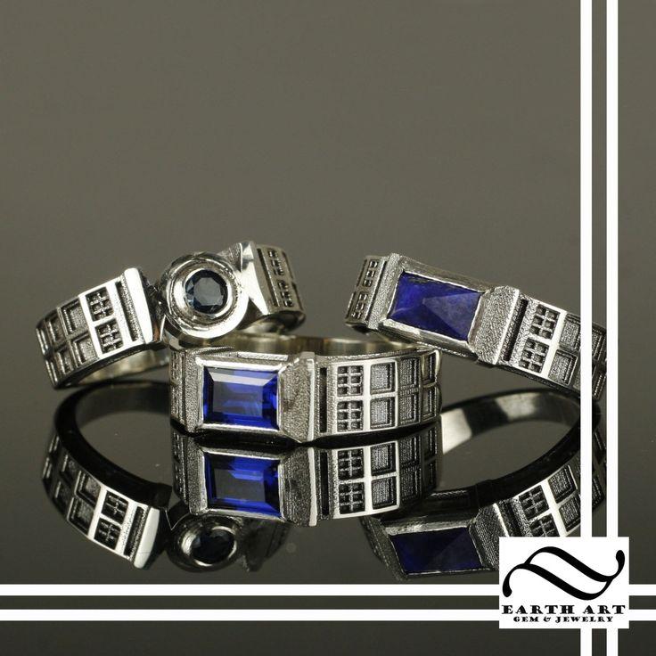 Custom TARDIS ring with gemstones