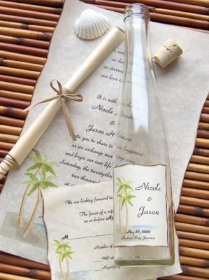 Beach Wedding Invitations Ideas | http://simpleweddingstuff.blogspot.com/2014/01/beach-wedding-invitations-ideas.html Message in a bottle, sand dollars,