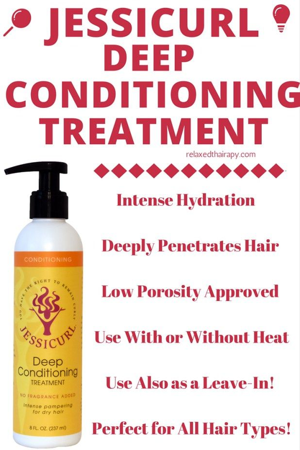 Jessicurl Deep Conditioning Treatment is offers intense moisture to relaxed hair, transitioning hair and natural hair. Use also as a leave-in conditioner. Also available in Fragrance Free for those with sensitivities. relaxedthairapy.com
