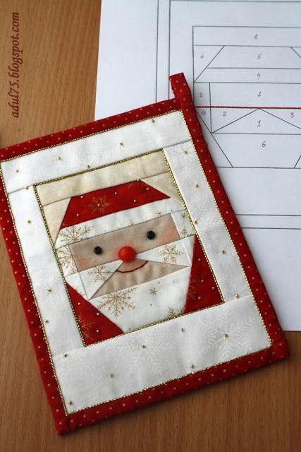 """Новогодняя гирлянда в технике """"paper piecing"""". Флажок третий"""